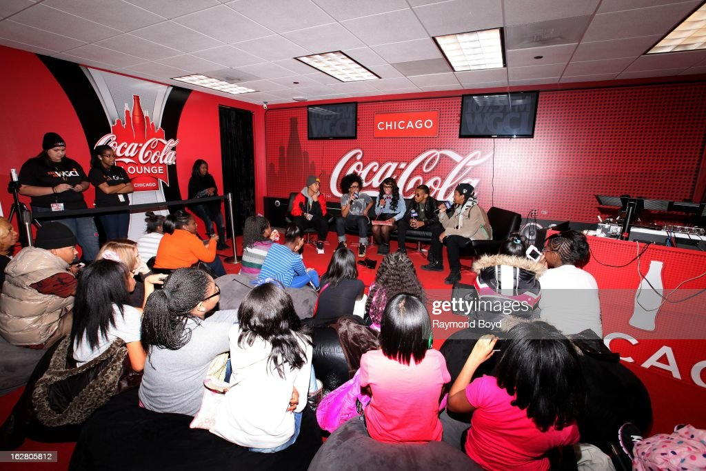 Mindless Behavior(Roc Royal, Princeton, Prodigy and Ray Ray), are interviewed by on-air personality Demi Lobo(c), in the WGCI-FM 'Coca-Cola Lounge' in Chicago, Illinois on FEBRUARY