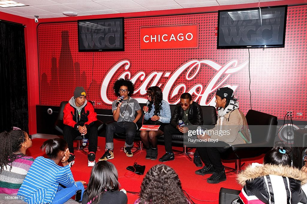 Mindless Behavior(Roc Royal, Princeton, Prodigy and Ray Ray), are interviewed by on-air personality Demi Lobo(c), in the WGCI-FM 'Coca-Cola Lounge' in Chicago, Illinois on FEBRUARY 24, 2012.