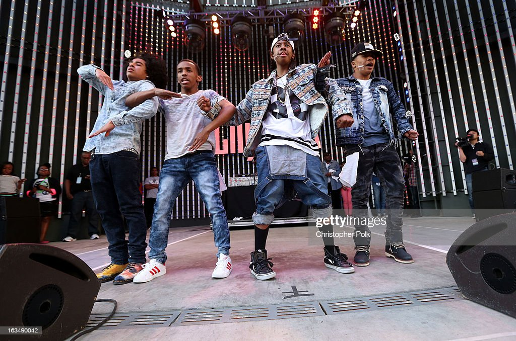 "Mindless Behavior performs at Universal CityWalk for the premiere of ""All Around The World"" & a performance presented by Target at Universal CityWalk on March 10, 2013 in Universal City, California."