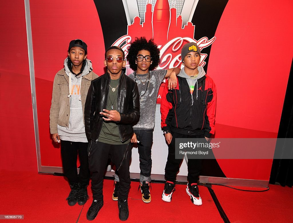 Mindless Behavior(Ray Ray, Prodigy, Princeton, Roc Royal), poses for photos in the WGCI-FM 'Coca-Cola Lounge' in Chicago, Illinois on FEBRUARY