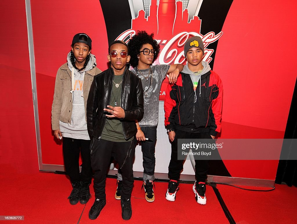 Mindless Behavior(Ray Ray, Prodigy, Princeton, Roc Royal), poses for photos in the WGCI-FM 'Coca-Cola Lounge' in Chicago, Illinois on FEBRUARY 24, 2012.