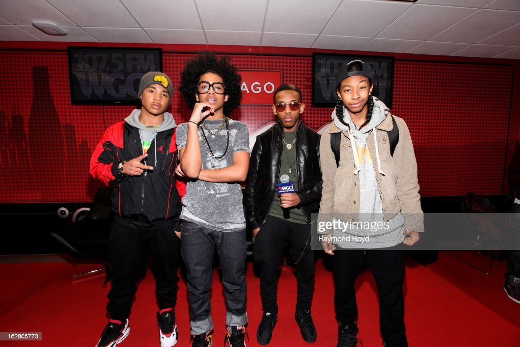 Mindless Behavior(Roc Royal, Princeton, Prodigy and Ray Ray), poses for photos in the WGCI-FM 'Coca-Cola Lounge' in Chicago, Illinois on FEBRUARY
