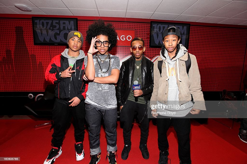 Mindless Behavior poses for photos in the WGCIFM 'CocaCola Lounge' in Chicago Illinois on FEBRUARY 24 2012