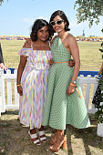 Mindy Kaling and Freida Pinto attend the EighthAnnual Veuve Clicquot Polo Classic at Liberty State Park on May 30 2015 in Jersey City New Jersey