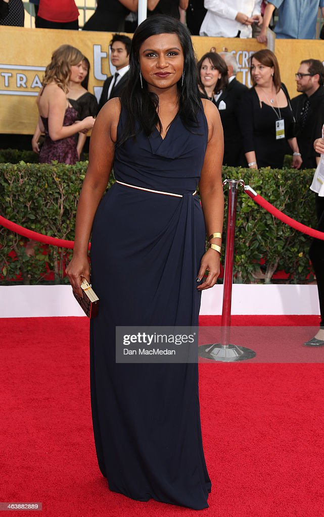 <a gi-track='captionPersonalityLinkClicked' href=/galleries/search?phrase=Mindy+Kaling&family=editorial&specificpeople=743884 ng-click='$event.stopPropagation()'>Mindy Kaling</a> arrives at the 20th Annual Screen Actors Guild Awards at the Shrine Auditorium on January 18, 2014 in Los Angeles, California.