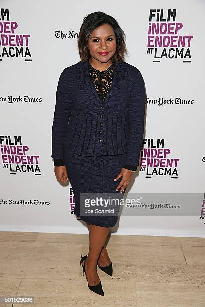 Mindy Kaling attends a Film Independent at LACMA presentation of an evening withMindy Kaling at Bing Theatre At LACMA on December 15 2015 in Los...