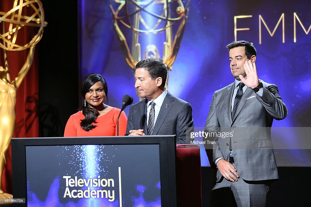 Mindy Kaling, Chairman/CEO of the Television Academy Bruce Rosenblum and Carson Daly speak at the 66th Primetime Emmy Awards nominations held at Leonard H. Goldenson Theatre on July 10, 2014 in North Hollywood, California.