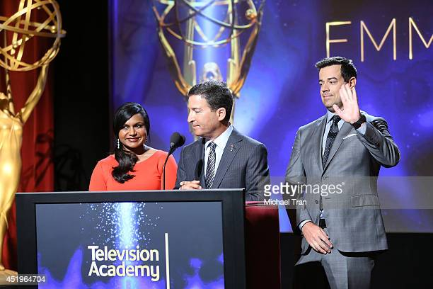 Mindy Kaling Chairman/CEO of the Television Academy Bruce Rosenblum and Carson Daly speak at the 66th Primetime Emmy Awards nominations held at...