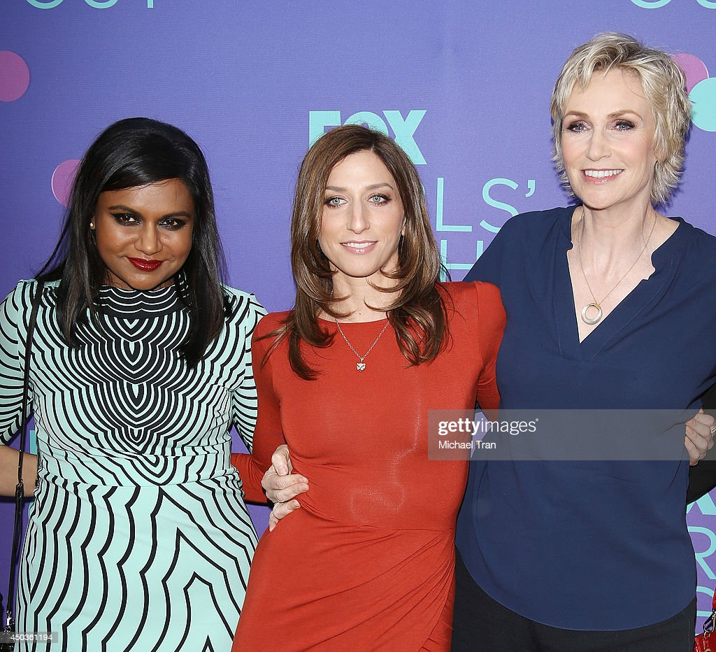 <a gi-track='captionPersonalityLinkClicked' href=/galleries/search?phrase=Mindy+Kaling&family=editorial&specificpeople=743884 ng-click='$event.stopPropagation()'>Mindy Kaling</a>, <a gi-track='captionPersonalityLinkClicked' href=/galleries/search?phrase=Chelsea+Peretti&family=editorial&specificpeople=7037211 ng-click='$event.stopPropagation()'>Chelsea Peretti</a> and <a gi-track='captionPersonalityLinkClicked' href=/galleries/search?phrase=Jane+Lynch&family=editorial&specificpeople=663918 ng-click='$event.stopPropagation()'>Jane Lynch</a> arrive at Fox's 'Girls Night Out' held at Leonard H. Goldenson Theatre on June 9, 2014 in North Hollywood, California.