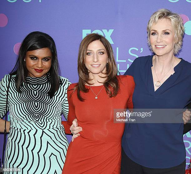 Mindy Kaling Chelsea Peretti and Jane Lynch arrive at Fox's 'Girls Night Out' held at Leonard H Goldenson Theatre on June 9 2014 in North Hollywood...