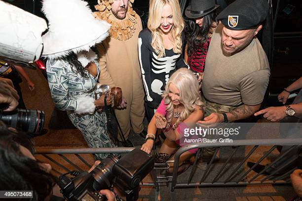 Mindy Robinson and Randy Couture are seen celebrating Halloween in Beverly Hills on October 30 2015 in Los Angeles California