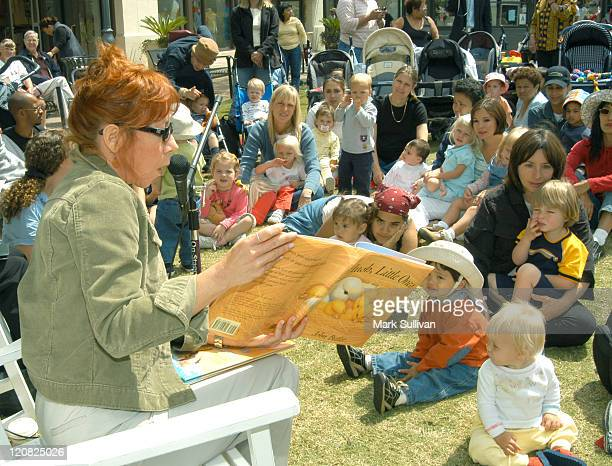 Mindy Sterling reads a story to children during Screen Actors Guild Foundation Presents BookPALS at The Grove in Los Angeles California United States