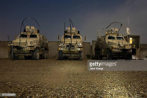 MRAP, Mine Resistant Ambush Protected vehicles at night