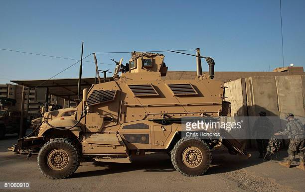 Mine Resistant Ambush Protective vehicle is parked at Forward Operating Base Loyalty May 12 2008 in Baghdad Iraq MRAPs specially designed with...