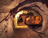 Old, rusty mining machine deep underground in a lead and zinc mine (Mezica, Slovenia).