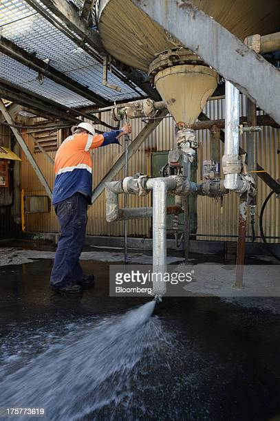 A mine worker adjusts the water pressure under an elution tank at the Norton Gold Fields Ltd Paddington operations 35 kilometers northwest of...