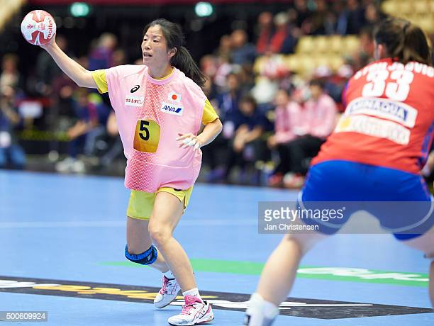 Mineko Tanaka of Japan in action during the 22nd IHF Women's Handball World Championship match between Serbia and Japan in Jyske Bank Boxen on...