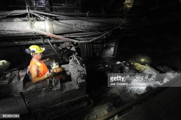 Miner Aidan Greensmith working down the mineshaft at Thoresby Colliery Nottinghamshire
