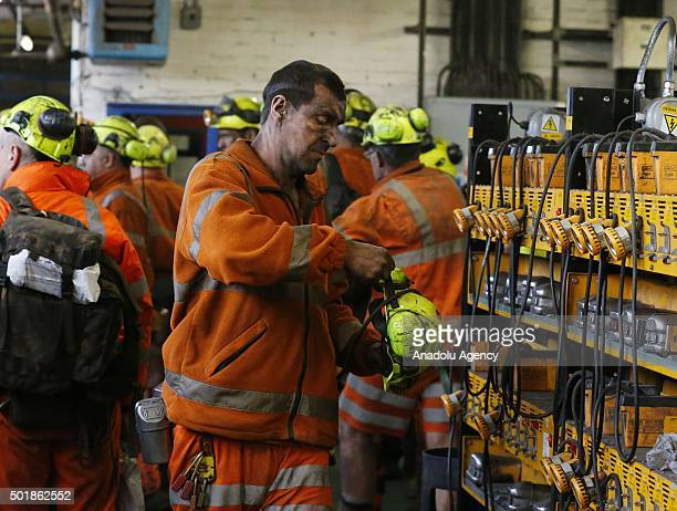 A miner completes his last shift at Kellingley Colliery in West Yorkshire England on December 18 2015 Kellingley is the last deep mine in the UK...