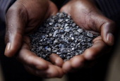 Miner holds tantalum stones April 28 2010 in Numbi in South Kivu Province Democratic Republic of Congo The long war which had involved 9 African...