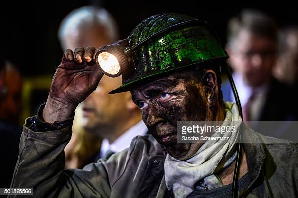 A miner in the Zeche Auguste Victoria coal mine on its final day of operation on December 18 2015 in Marl Germany The mine located in the Ruhr region...