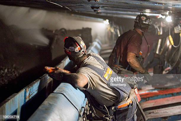A miner operates the shearer in Foresight Energy LLC's Pond Creek longwall coal mine in Johnson City Illinois US on Monday June 21 2010 In 2002...