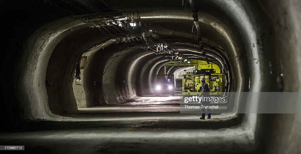 A miner stands in a tunnel in Gorleben Mine on July 3, 2013 in Gorleben, Germany. The German Bundestag agreed on June 28 to end radioactive transports to the Gorleben Mine while a commission of experts launches a search for a new nuclear waste disposal site.