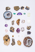 Collection of minerals and semi precious gemstones