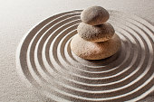 smooth curvy lines in sand for meditation and zen lifestyle