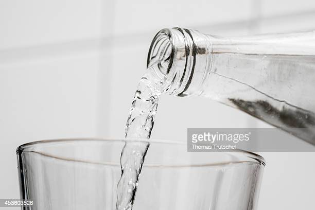 Mineral Water is poured into a glass on August 06 in Berlin Germany