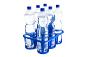Tray of water bottles - isolated on white