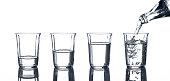 4 Gläser mit Wasser und eine Flasche, aus der eingegossen wird.
