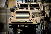 October 26, 2008 - A mine-resistant, ambush-protected vehicle stands ready at the 755th Air Expeditionary Group Explosive Ordnance Disposal Operation Location-Bravo, Kandahar Air Field, Afghanistan. M