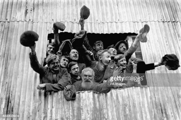 Miners cheer as Edward Prince of Wales visits Insoles Ltd colliery at Cymmer