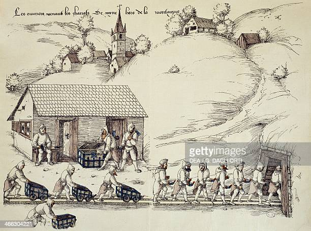 Miners entering the silver mine of La CroisauxMines engraving France 16th century