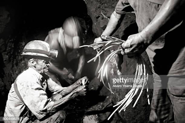 Miners handling explosives is the traditional way of working in the emerald mines in Muzo Gringo has 30 years of experience working with TNT inside...