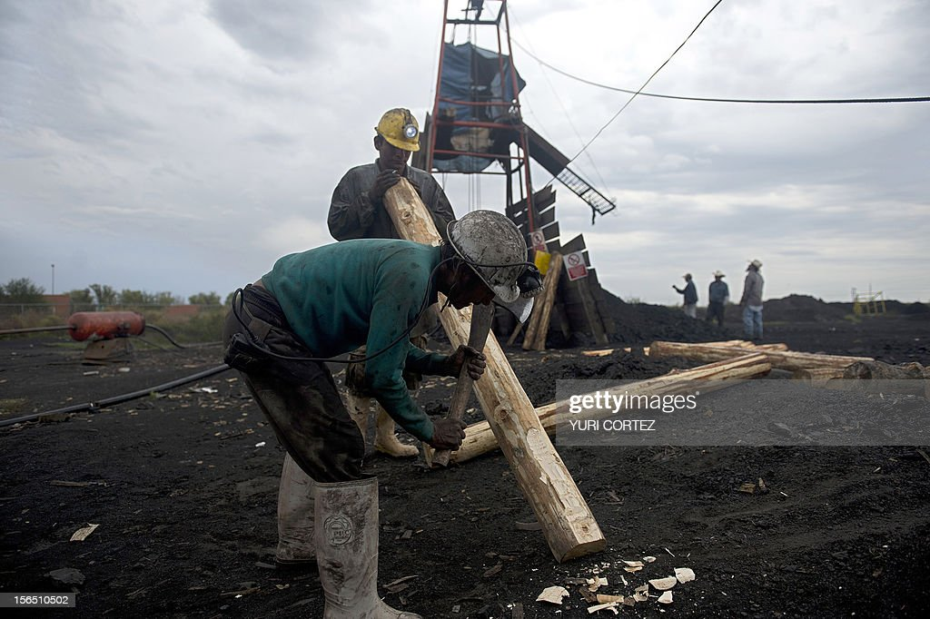 Miners make wooden support beams in a coal mine in Agujita, Coahuila State in Mexico on November 13, 2012. According to the Mining Chamber of Mexico, the country produces annually 15 million tons of coal, with an average annual production worth USD 3,800 million, representing 1.6% of the country's Gross Domestic Product (GDP) . The bulk of the coal is used for power generation and steel production. Recent press reports affirm that drugs cartel are involved in the coal-related activities.