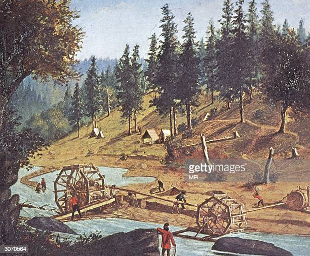 Miners panning for gold at Foster's Bar California during the gold rush