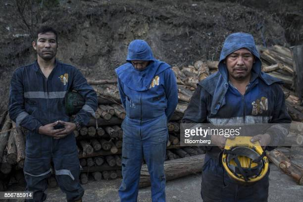 Miners pray for protection before the start of the morning shift at a coal mine in Cucunuba Cundinamarca Department Colombia on Friday July 28 2017...