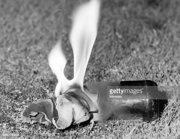 Miners Strike 1984 1985 Pictured Petrol bomb which failed to explode thrown near Kiveton Park Pit South Yorkshire Monday 3rd September 1984 On 6th...