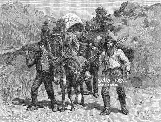 Miners travelling to find new diggings during the California Gold Rush era 1849