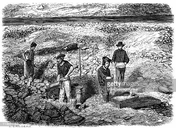 Miners washing for gold using cradles and pans Californian gold fields Wood engraving published Paris the yeasr of the great Californian Gold Rush