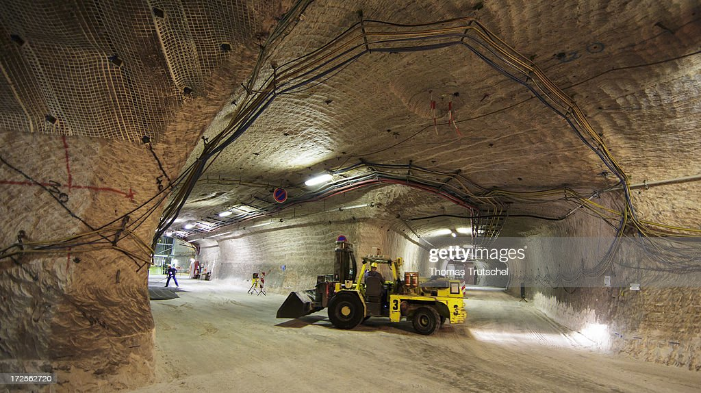 Miners work in a tunnel in Gorleben Mine on July 3, 2013 in Gorleben, Germany. The German Bundestag agreed on June 28 to end radioactive transports to the Gorleben Mine while a commission of experts launches a search for a new nuclear waste disposal site.
