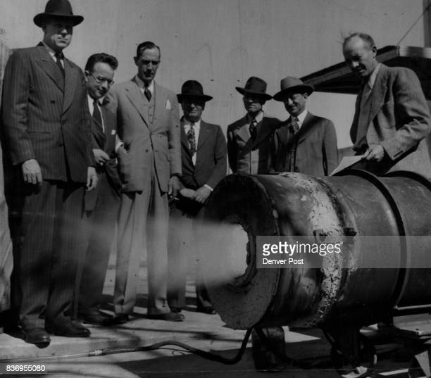 S Mines Bureau ***eriment Station Golden Coalconscious visitors from Florence Colo inspect a new type of industrial coal burner now on test at the US...