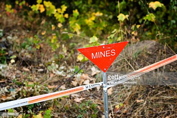 'Mines' sign on mine field.