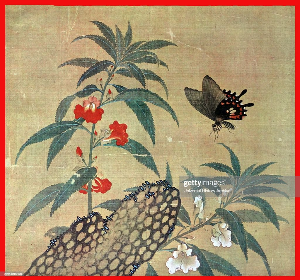 Ming Dynasty painting on silk showing flowers with a hovering butterfly chinese 14th century