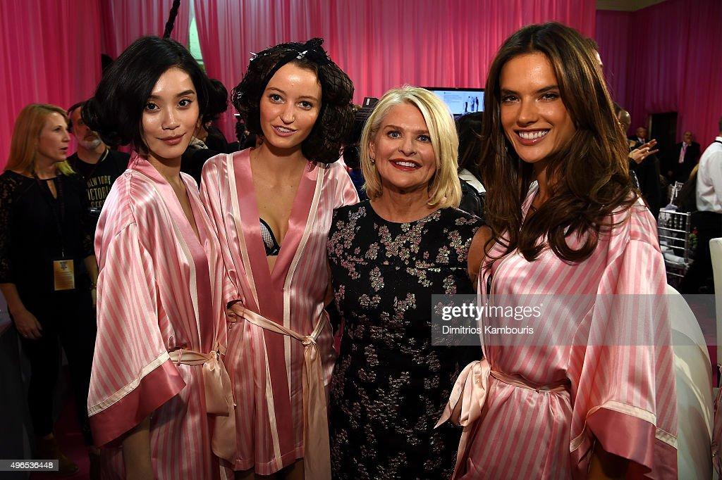 Ming Xi Megan Puleri Victoria's Secret CEO Sharen Turney and Alessandra Ambrosio are seen backstage before the 2015 Victoria's Secret Fashion Show at...