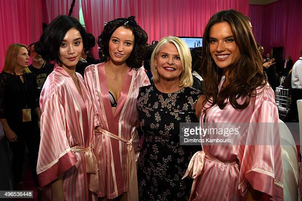 Ming Xi Megan Puleri Victoria's Secret CEO Sharen Turney and Alessandra Ambrosio are seen backstage before the 2015 Victoria's Secret Fashion Show at...