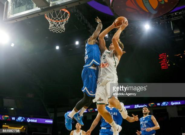 Mingaugas Kuzminskas of Lithuania in action against Thanasis Antetokounmpo of Greece during the FIBA Eurobasket 2017 Round 16 basketball match...