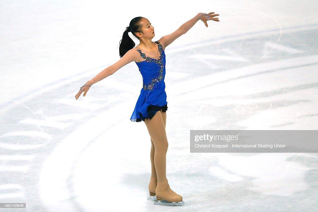 Minglu Zhao of China skates during the junior ladies free skating of the ISU Junior Grand Prix at Dom Sportova on October 10 2015 in Zagreb Croatia